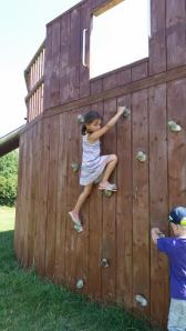 Climbing the wall all by herself!  She is only four and its taller than it looks!  AWWW