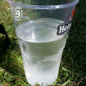 H2O!  In a plastic glass..exciting stuff